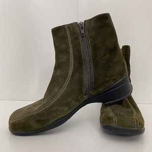 Clarks | Olive Green Suede Square Toe Booties 7.5